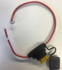 Photo of a 12V fuse wire with the fuse housing area opened.