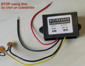 Photo of a 12V Step-up converter which is prone to failure.