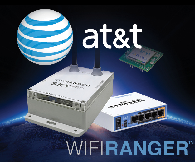 Graphic of the SkyPro LTE Pack by WiFiRanger with AT&T logo.