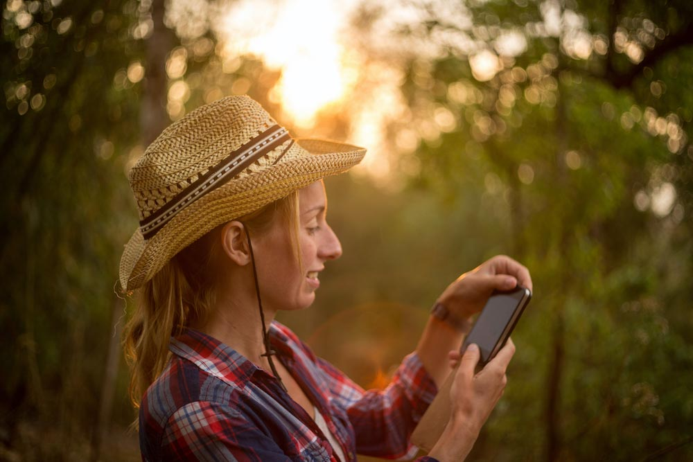 Photo of woman enjoying internet on a smartphone device with a beautiful sunset in the background.